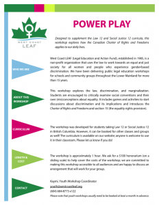 Power Play workshop flyer. The design features colourful triangles. For this information in a different format, please email education@westcoastleaf.org