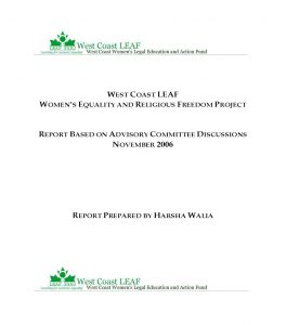 Report Cover - REPORT - Women's Equality and Religious Freedom Repor