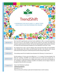 TrendShift workshop flyer. It has colourful icons forming a white talk bubble where the title TrendShift appears, along with West Coast LEAF's logo. For a different format, please email education@westcoastleaf.org