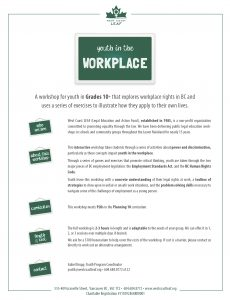 WORKSHOPS - YOUTH IN THE WORKPLACE - Brochure