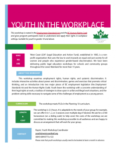 Youth in the Workplace workshop flyer. It has a colourful, geometric design. To receive this information in a different format, please contact education@westcoastleaf.org