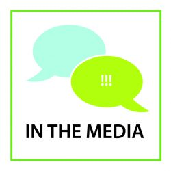 "Two talk bubbles, one lime green and the other-blue green, appear above the words ""IN THE MEDIA."" The green talk bubble contains three exclamation marks."