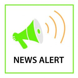 Lime green icon of a megaphone within a lime green border with black text below it: NEWS ALERT