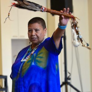 Image of Elder Roberta Price from Snuneymuxw and Cowichan First Nations providing a Land Acknowledgement at a recent West Coast LEAF and SPARC BC event June 2018