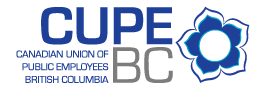 logo for CUPE BC with blue and white dogwood flower