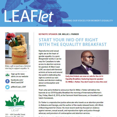 Cover page of the Winter 2018 LEAFlet