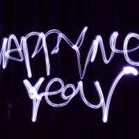 "Photo that in handwriting says ""Happy New Year"""