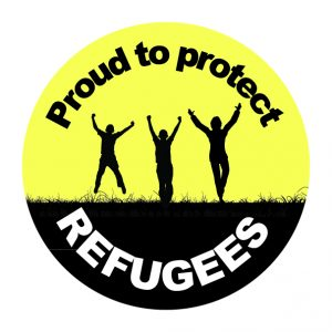 "Graphic that is black and yellow that reads ""proud to protect refugees"" with three silhouettes raising their arms"
