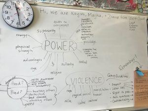 Photo of a whiteboard with the work POWER written in a bubble with brainstormed ideas surrounding it and VIOLENCE written in a bubble below with brainstormed ideas surrounding it