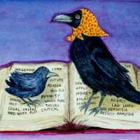A painting of a crow wearing a kookum scarf standing with a baby crow on an open book