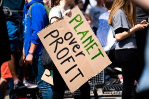 "Photo of a person holding a cardboard sign that reads, ""PLANET OVER PROFIT."""