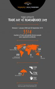 "An Infographic that reads ""Trans Day of Remembrance 2019"" There is a map of the world showing the numbers of trans people lost in each region."