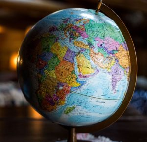 Photo of a globe on a stand that shows the global south region