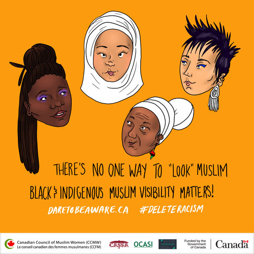 """Illustrated poster that reads """"there's no one way to """"look"""" muslim/Black & Indigenous Muslim Visibility Matters!"""