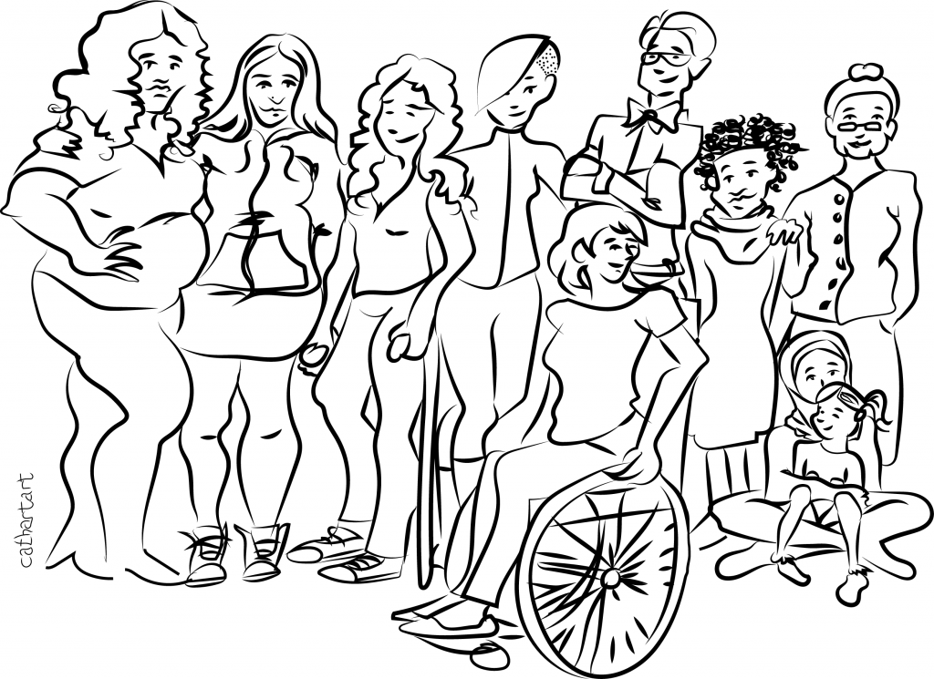 Black and white line drawing of a diverse group of people