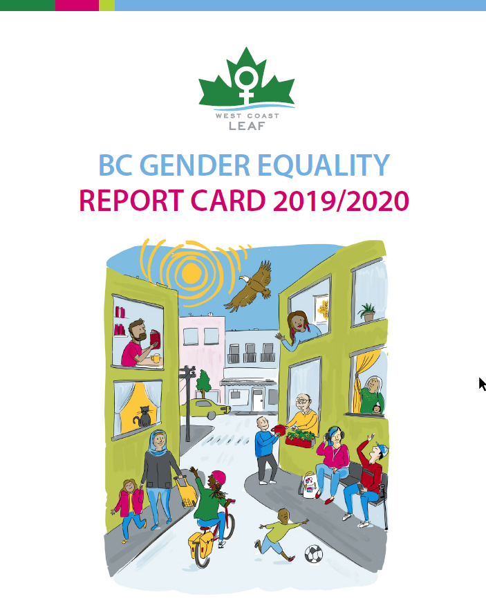 Cover of the BC Gender Equality Report Card 2019/2020. Illustration depicts a warm and inclusive neighbourhood where people are interacting