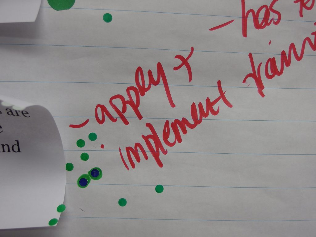 "White paper with the words ""apply + implement"" written in red marker and green sticker dots around it."