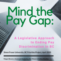 Mind the Pay Gap report cover. SKyscrapers viewed from below on cover.