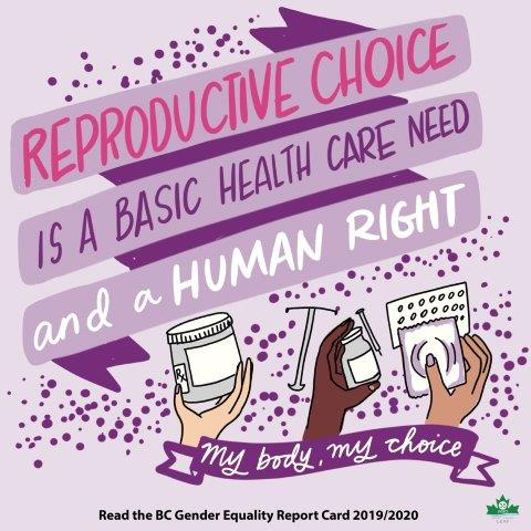 """Three hands holding different kinds of contraception. Text: """"Reproductive choice is a basic health care need and a human right."""""""