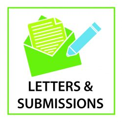 "An icon showing a lime green envelope with a piece of paper coming out of it and a light blue pen or pencil. The text says ""LETTERS & SUBMISSIONS"""