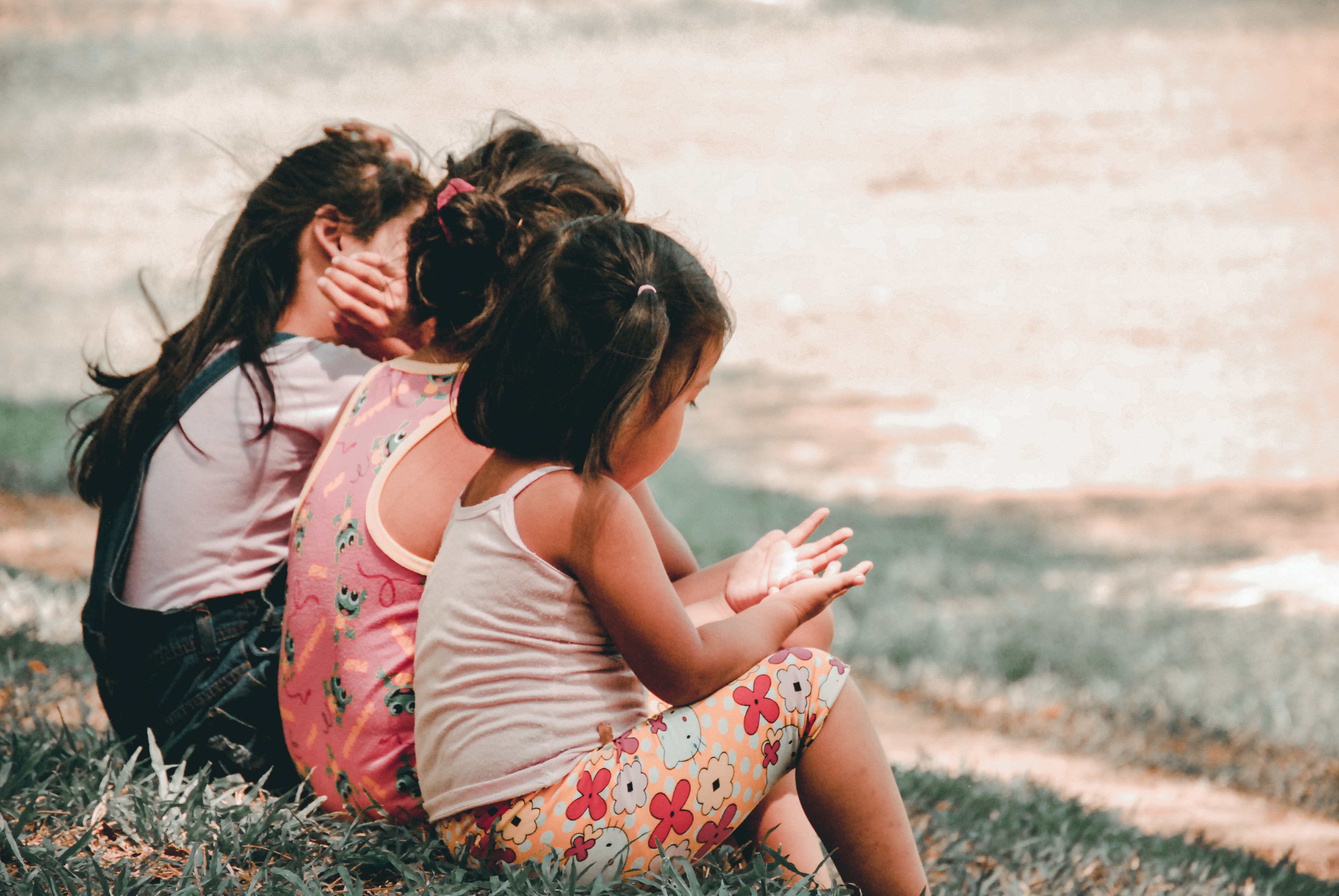 Photo of the three children sitting on the grass and you can only see their backs