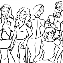 Line drawing of a diverse group of people