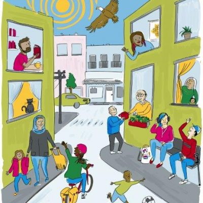 Colourful illustration of an inclusive neighbourhood full of people interacting