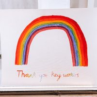 "A drawing of a rainbow that reads ""Thank you key workers"""