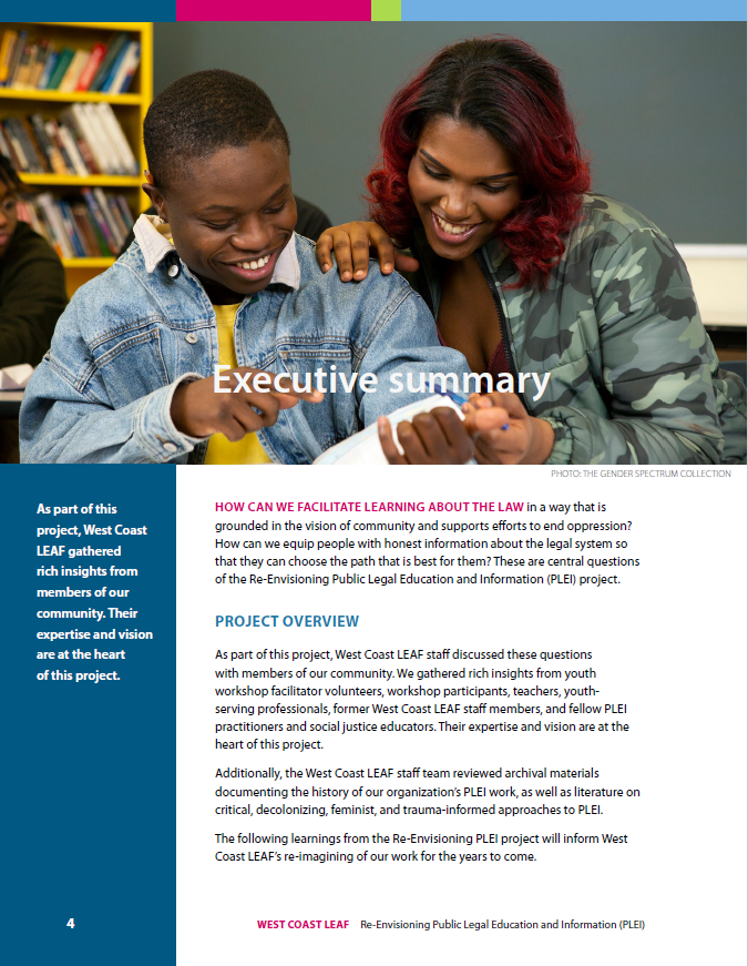 Image of first page of Executive Summary, including photo of two enthusiastic-looking learners looking at a book together
